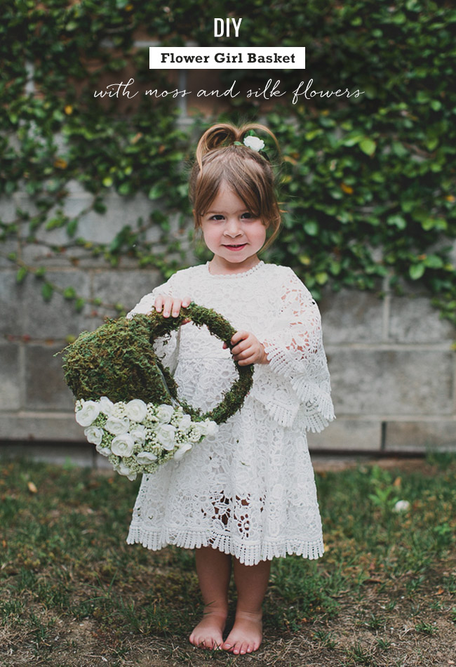 Flower Girl Baskets Diy : Diy flower girl basket with moss and silk flowers weddings