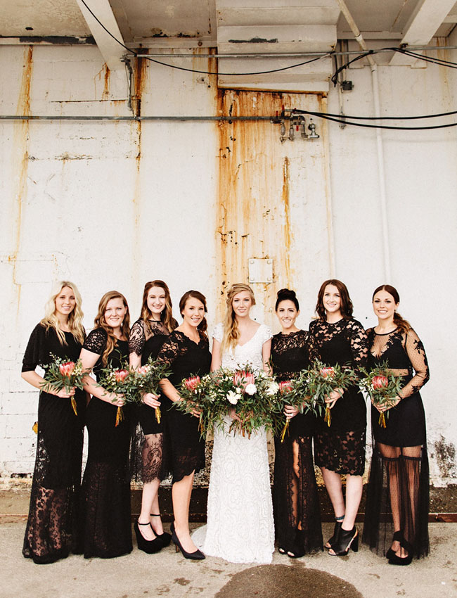 black lace bridesmaids