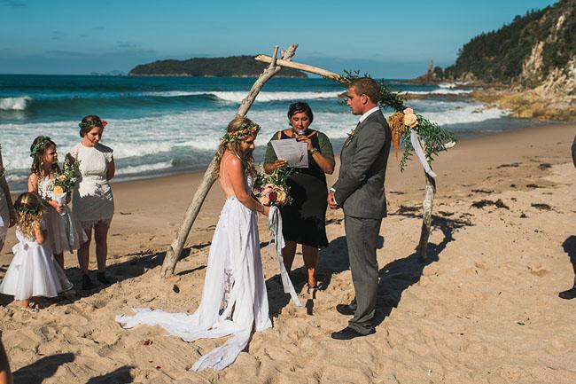Simple Wedding Dresses Nz: Bohemian New Zealand Beach Wedding: Sophie + Jason