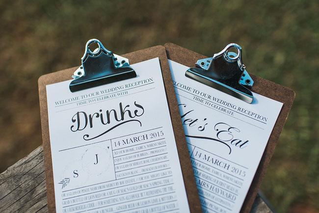 clipboard drink menus