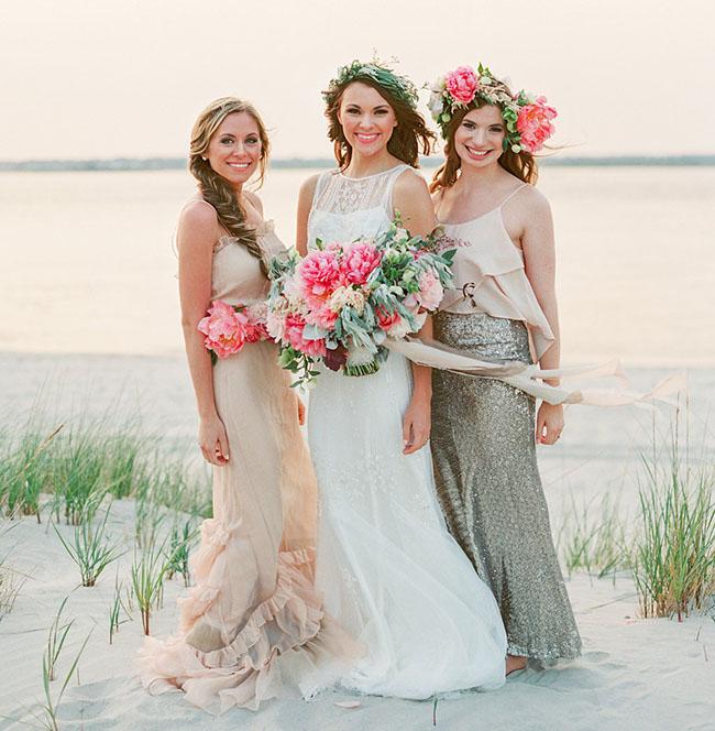 boho beach bridesmaids