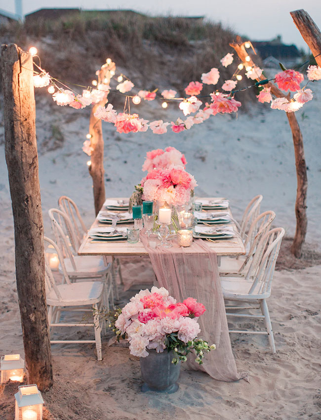 flower garland tablescape