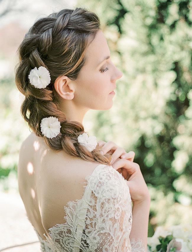 flowers in braid
