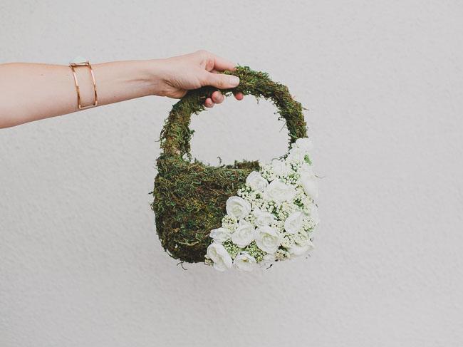 Flower Girl Basket Moss : Diy flower girl basket with moss and silk flowers green