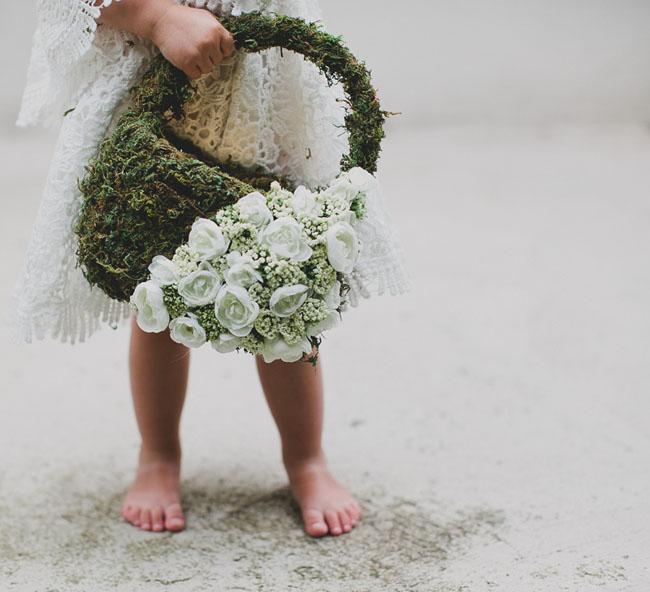 Flower Girl Baskets Green : Diy flower girl basket with moss and silk flowers green