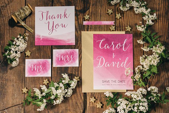 pink ombre invitaton
