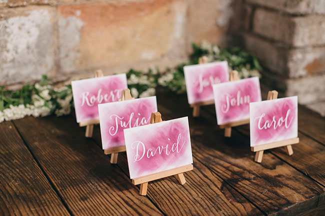 pink ombre escort cards
