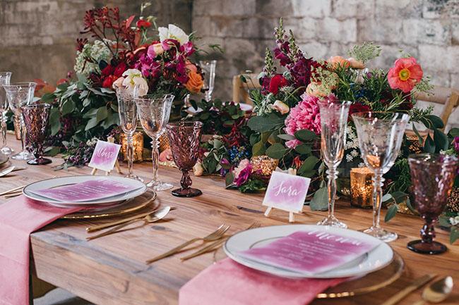 pink ombre menu