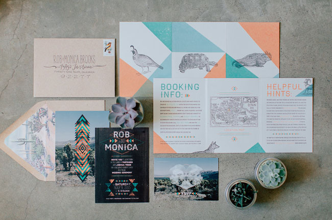 Paperchase Wedding Invitations: Intimate Joshua Tree Wedding: Monica + Rob