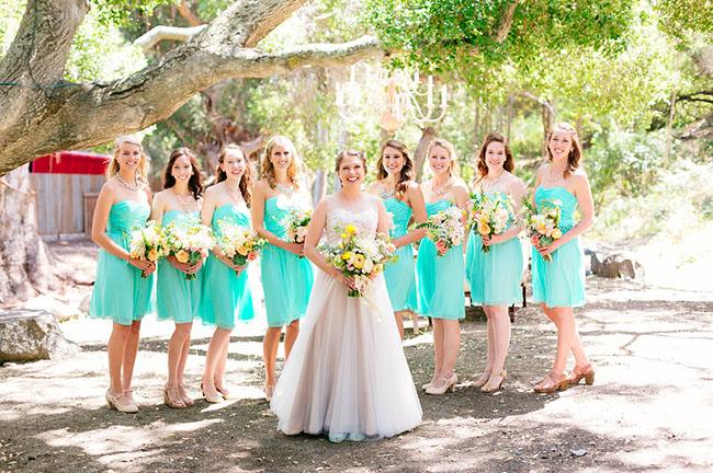 teal bridesmaids