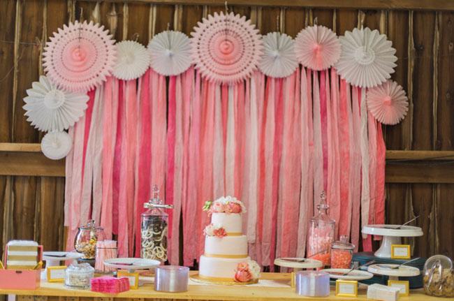 pink ribbon dessert backdrop