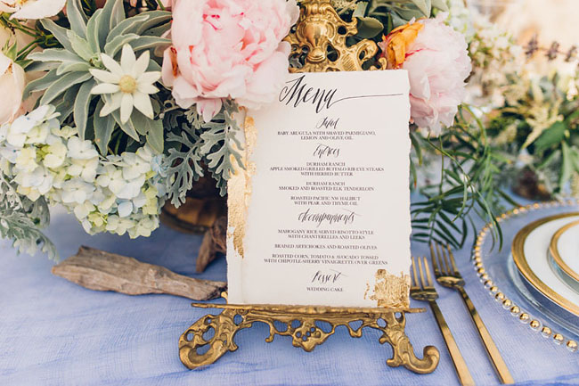 calligraphy table menu