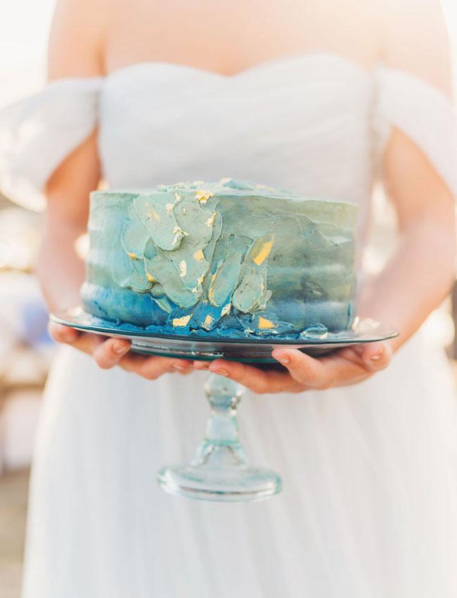 ombre blue ocean cake