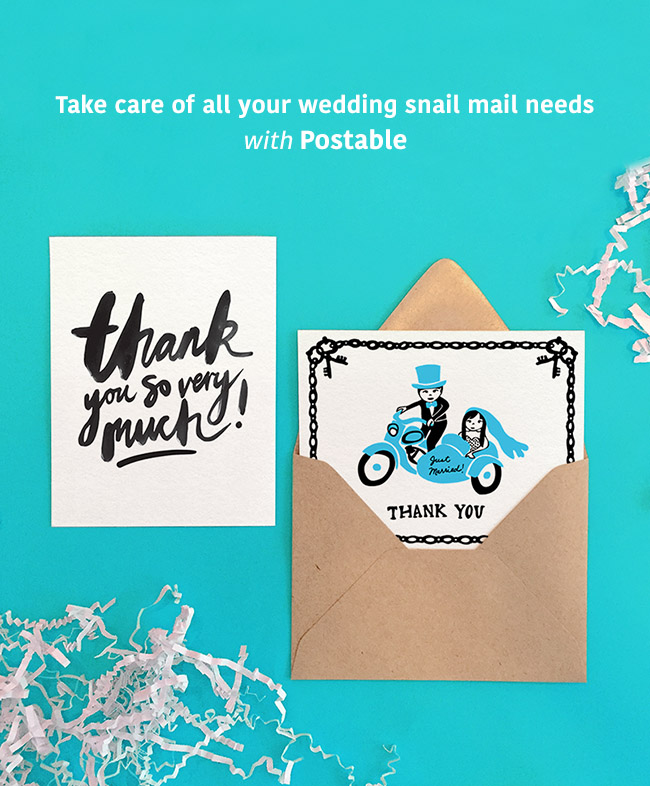 Wedding Invites + Thank You Cards from Postable - Green Wedding Shoes