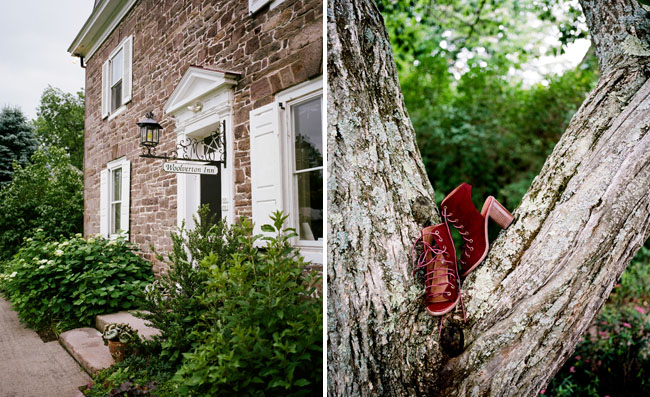 red bootie heels