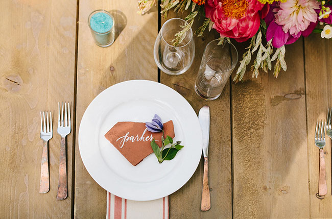 leather place card