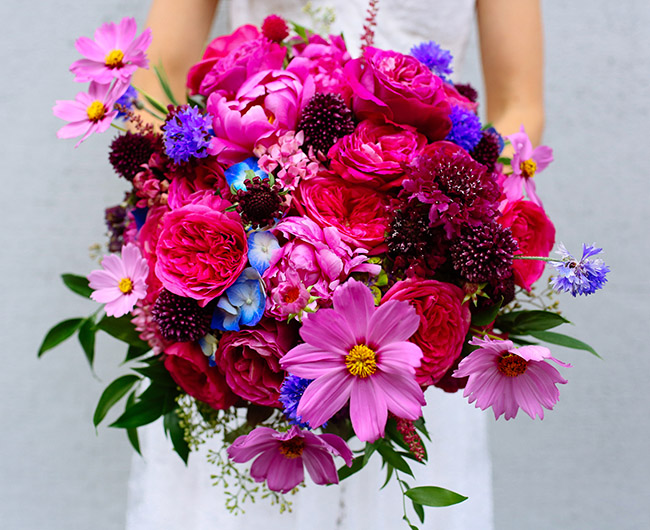 bright pink bouquet by The Bloom of Time