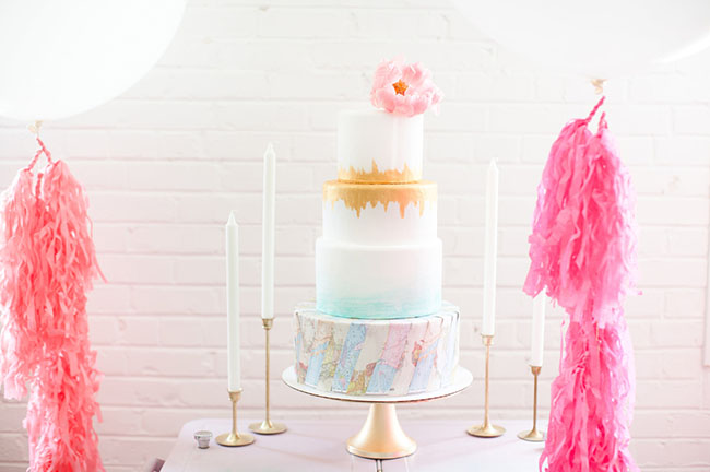 watercolor gold cake