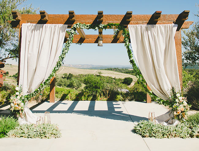green garland backdrop