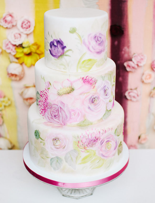 watercolor flower cake