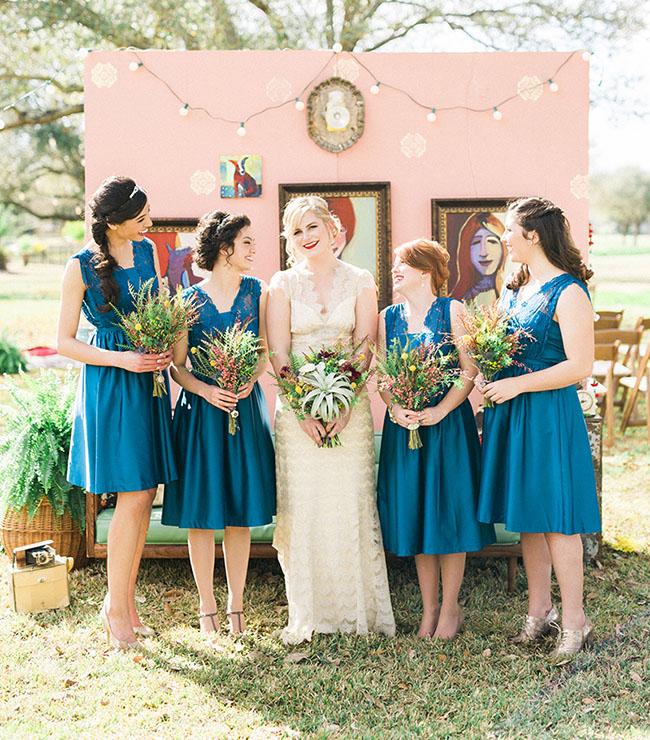blue bridesmaids