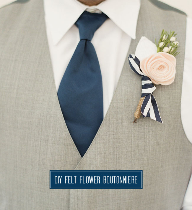 Diy felt flower boutonniere green wedding shoes mightylinksfo Choice Image