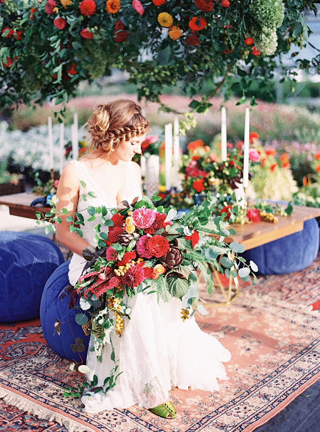 Bride with giant bouquet