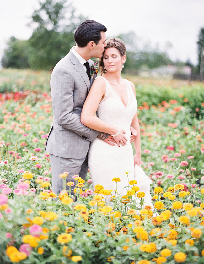 Wedding Portraits in Flower Fields