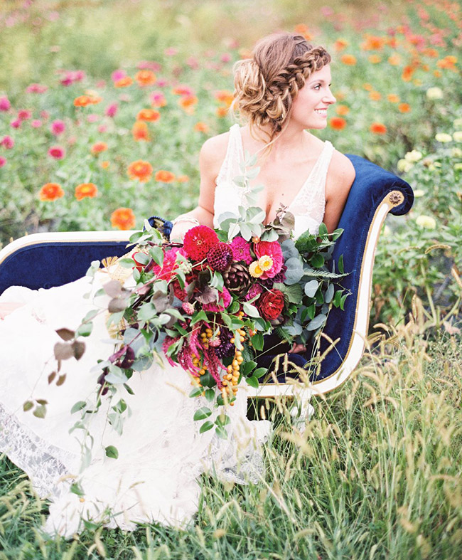 Bride in a flower field