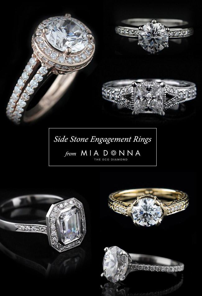 Side Stone Engagement Rings from MiaDonna