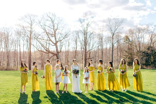 mustard yellow bridesmaids