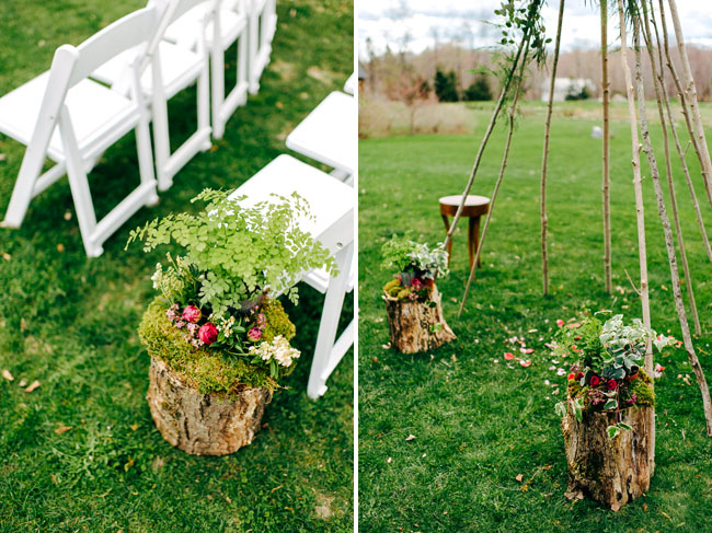 stump aisle decor