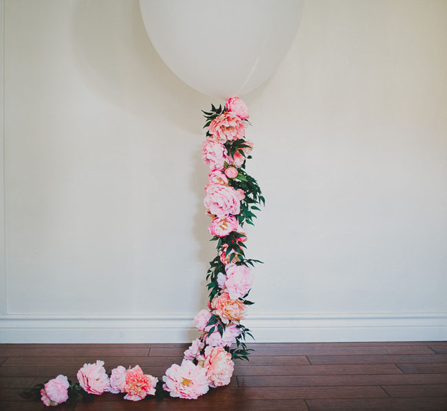 Diy Floral Balloon With Afloral Green Wedding Shoes