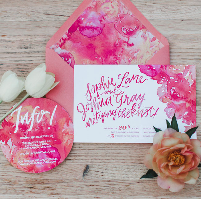pink calligraphy invitation