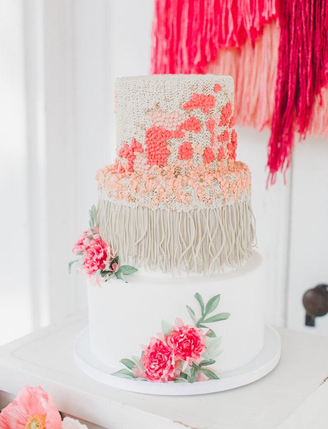 yarn hanging inspired cake