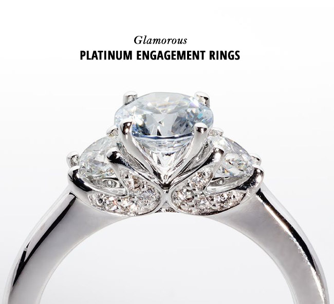 glam platinum engagement rings