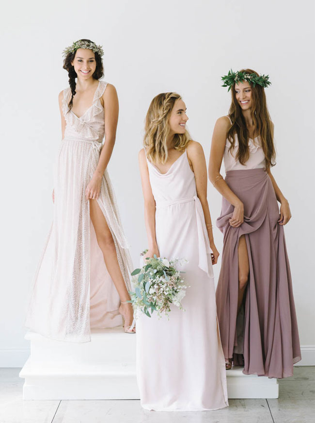 Mismatched Bridesmaid Style from Joanna August | Green Wedding Shoes | Weddings Fashion ...