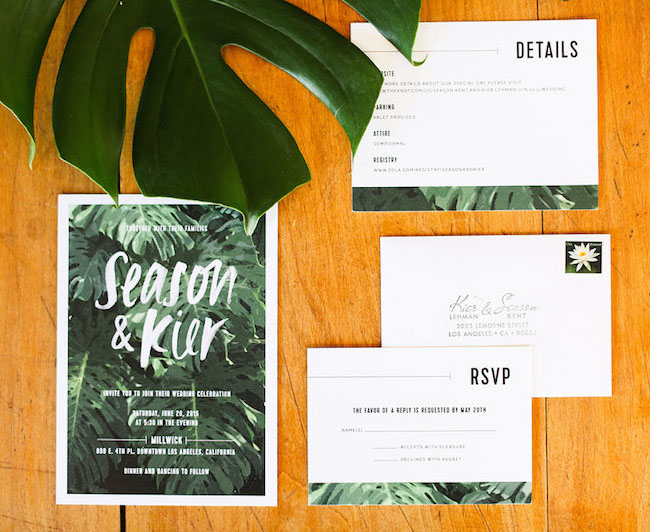 green leaf invitation