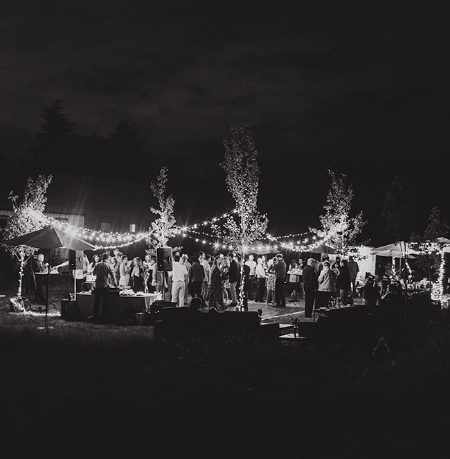 outdoor reception with white lights