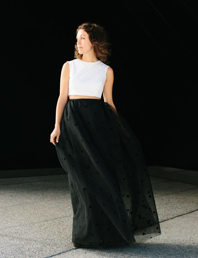 black dotted tulle skirt