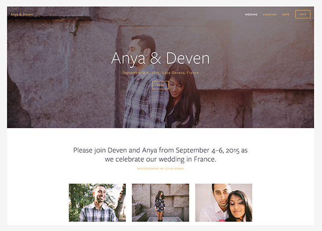 squarespace wedding website