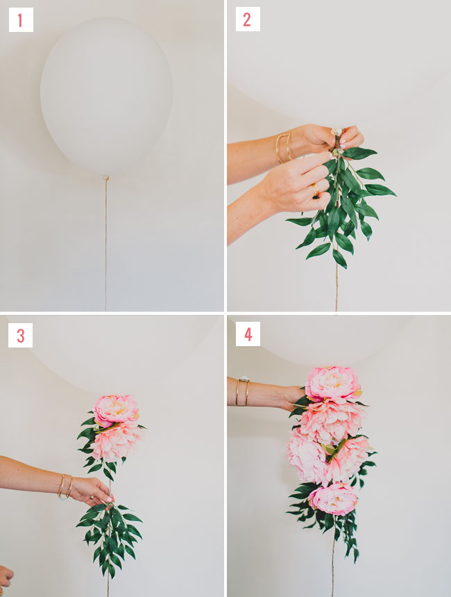 Diy floral balloon with afloral green wedding shoes for Balloon decoration ideas diy