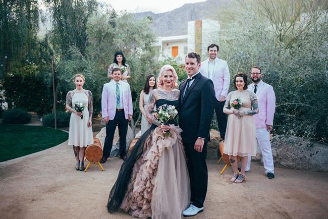 bride in black vera wang wedding dress