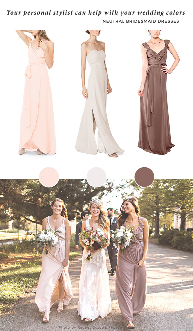 neutral bridesmaid dress colors with brideside