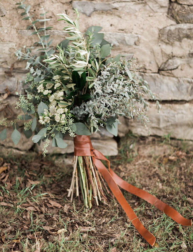 leather wrapped bouquet