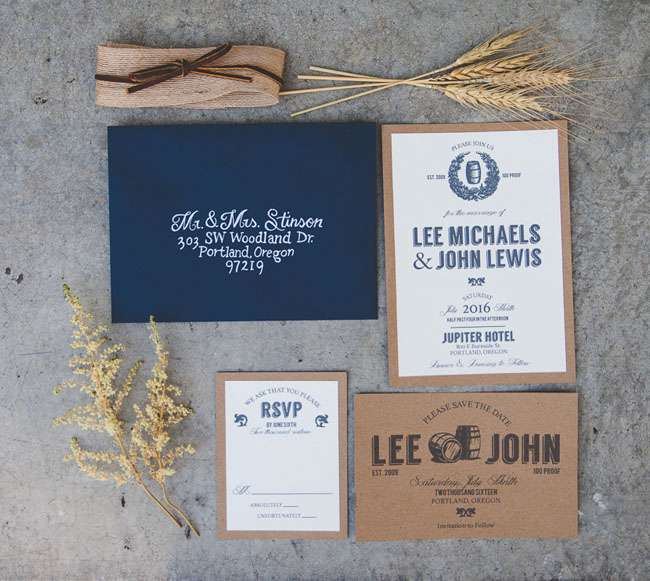 navy and kraft invitations