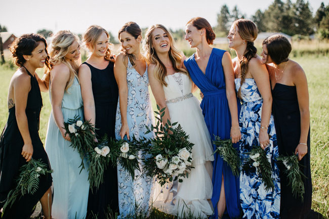 mixed blue bridesmaids