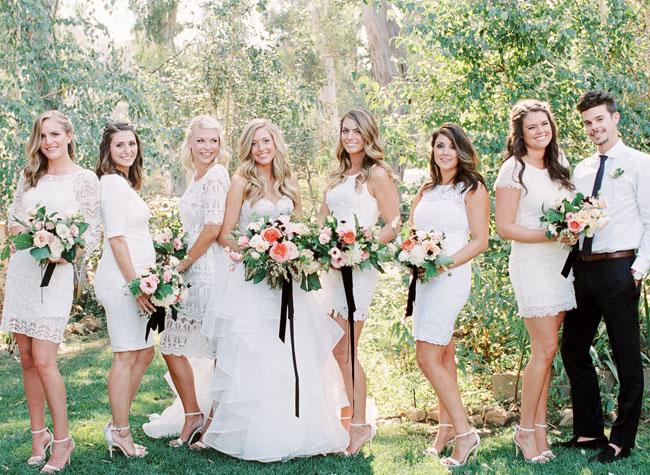 white lace bridesmaids