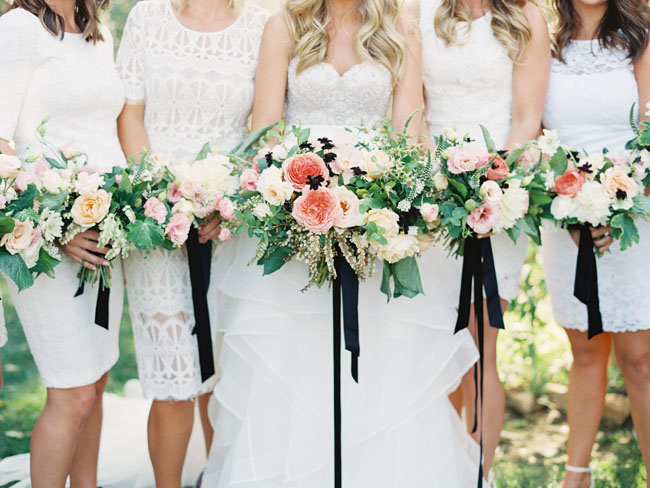 dark ribbon bouquets