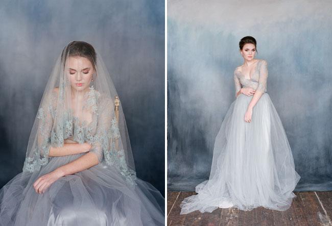 Váy cưới với tông màu xám